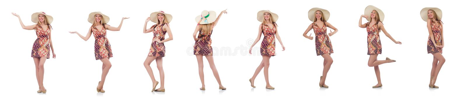 The beautiful dancing woman in summer dress handing hands isolated on white stock images
