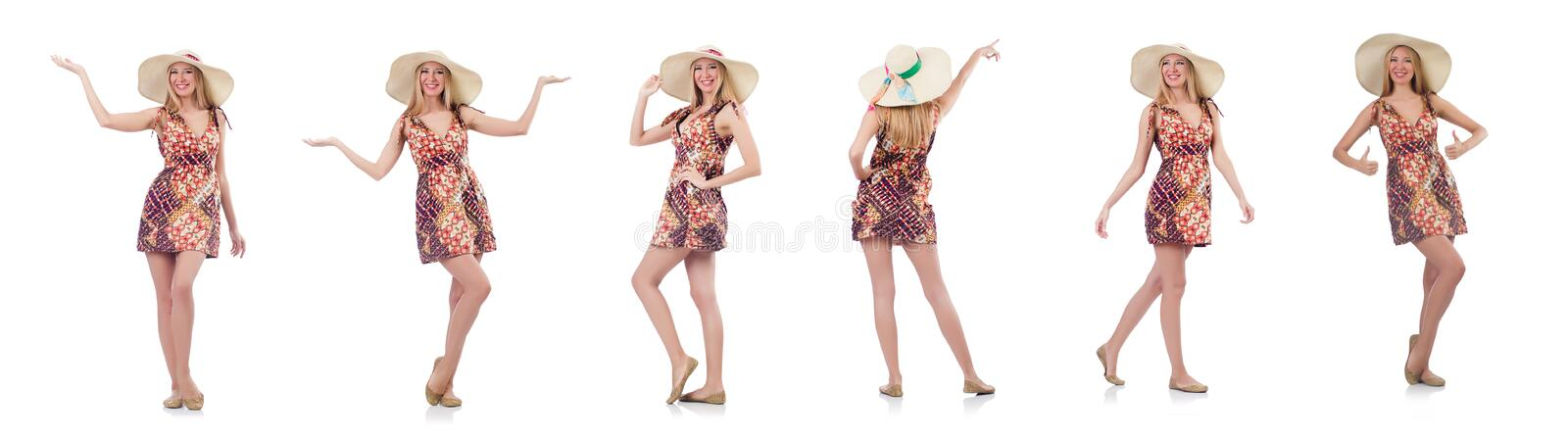 The beautiful dancing woman in summer dress handing hands isolated on white royalty free stock images