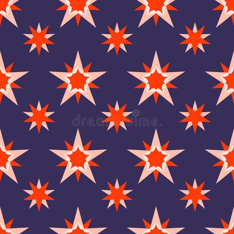 Beautiful dark blue background with red stars. Holiday seamless pattern. Ornament for gift wrapping paper, fabric, greeting cards vector illustration