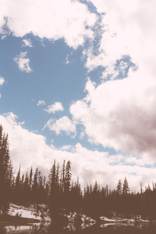 Beautiful dark forest with a lake with breathtaking large clouds in blue sky stock photography