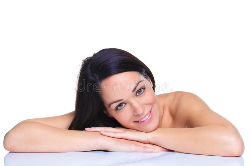 Beautiful dark haired woman royalty free stock image