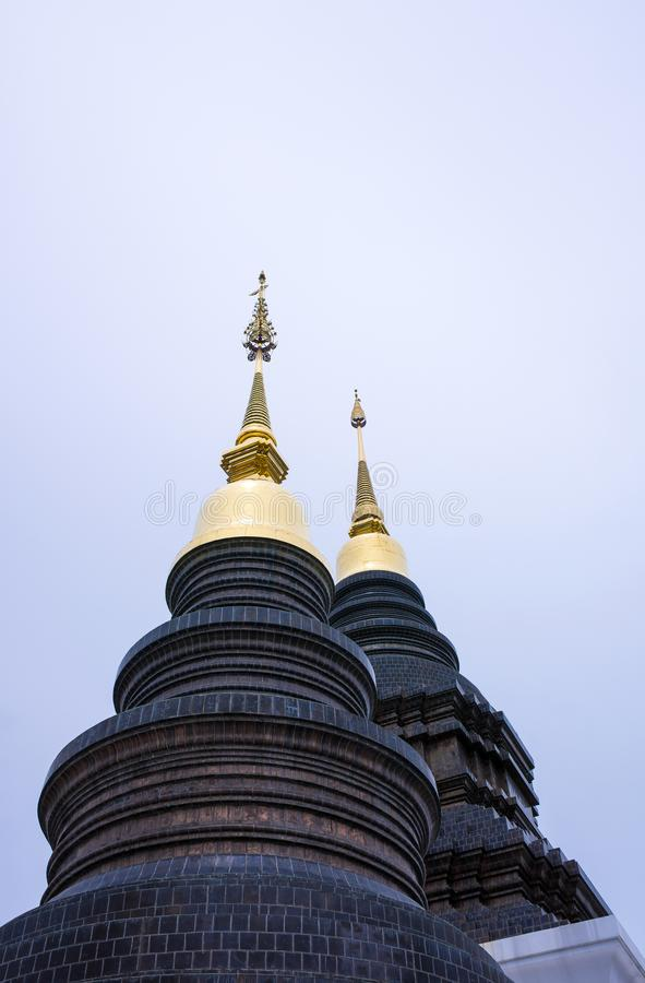 Beautiful dark pagoda in the temple of Thailand royalty free stock photos