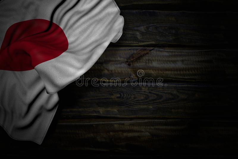 Beautiful any feast flag 3d illustration - dark picture of Japan flag with big folds on old wood with empty place for your text. Beautiful dark picture of Japan stock image