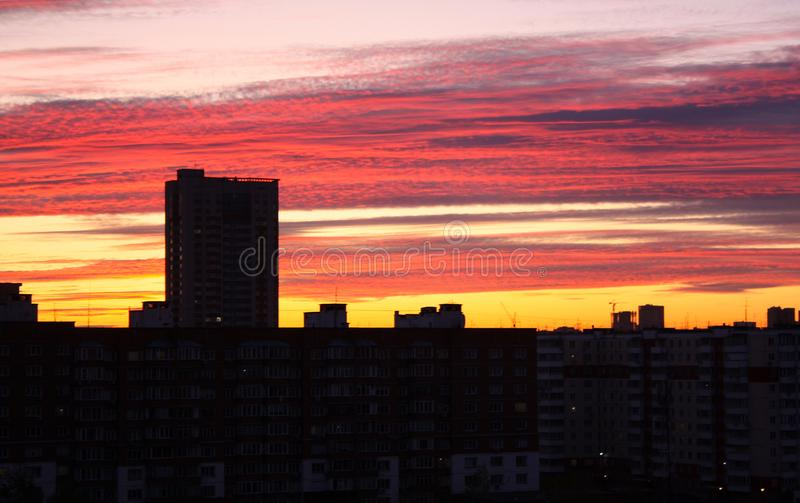 Beautiful dawn in a city. High-rise, multi-storey buildings with many windows. The sky is pink and yellow. Beautiful dawn in a big city. High-rise, multi-storey stock image