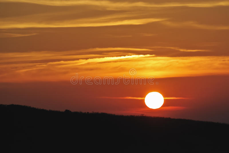 Beautiful dawn in the mountains,sunlight bright orange in nature background royalty free stock photos