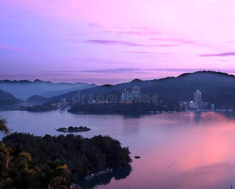 Beautiful Dawn at Sun Moon Lake royalty free stock photo