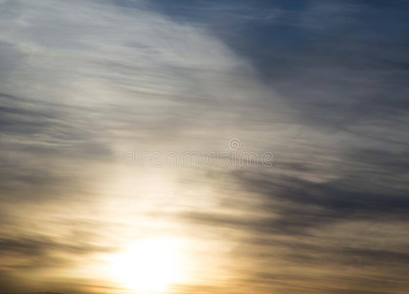 Beautiful dawn sun in the sky. In the park in nature stock images