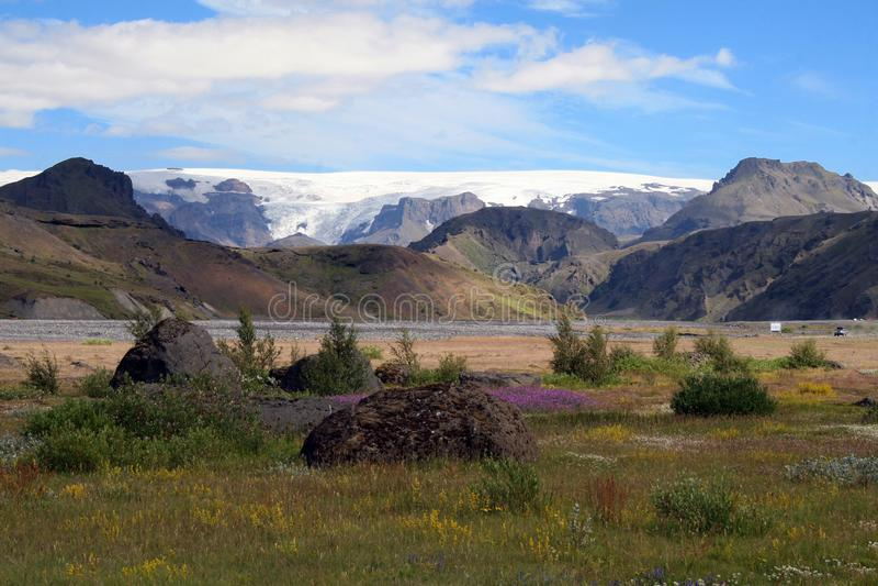 Þórsmörk in Iceland with mountain view stock photo