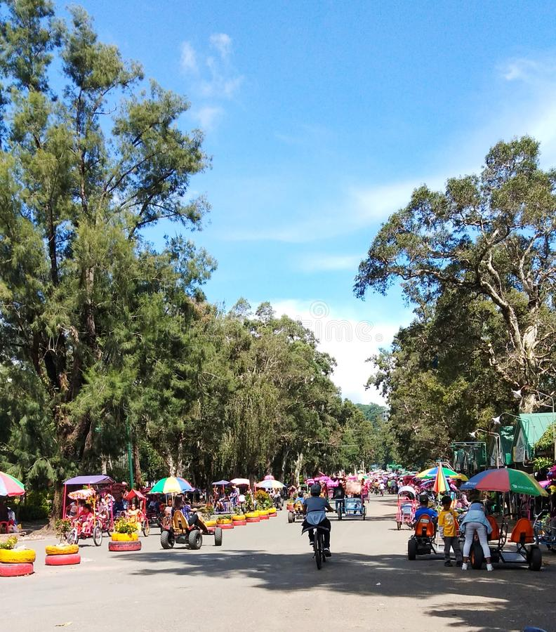 A beautiful day at Burnham Park in Baguio City. Kids taking a bike ride. royalty free stock photography