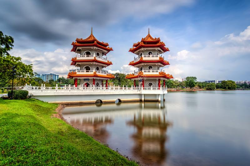 Beautiful day and cloud at Chinese Garden Twin Pagoda of Singapore with reflection stock photography