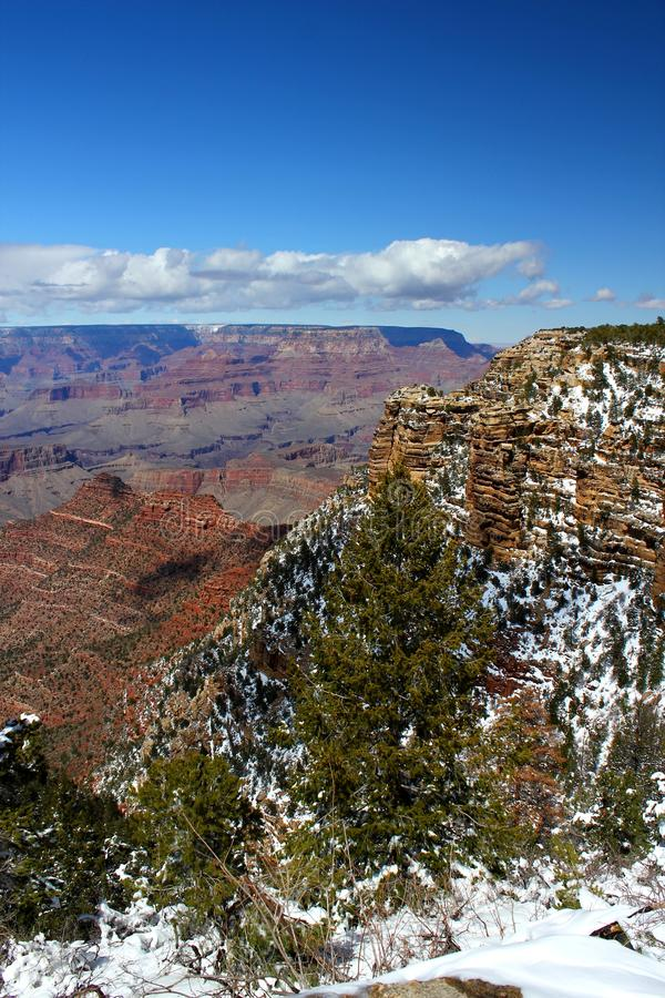 Fresh Winter Snow At Grand Canyon National Park / Arizona / USA. Beautiful day in Grand Canyon Nationalpark with a clear blue sky / Arizona / USA Travelling USA stock image