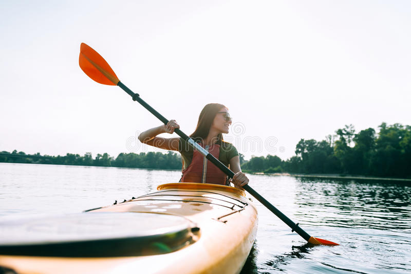 Beautiful day for kayaking. stock photos