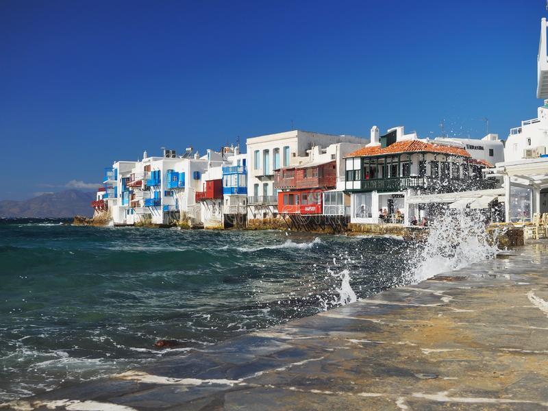 Beautiful day in Little Venice, Mykonos Island, Greece royalty free stock images