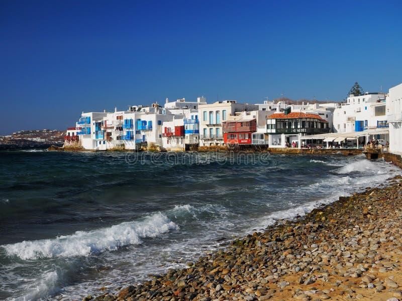 Beautiful day in Little Venice, Mykonos Island, Greece royalty free stock photos