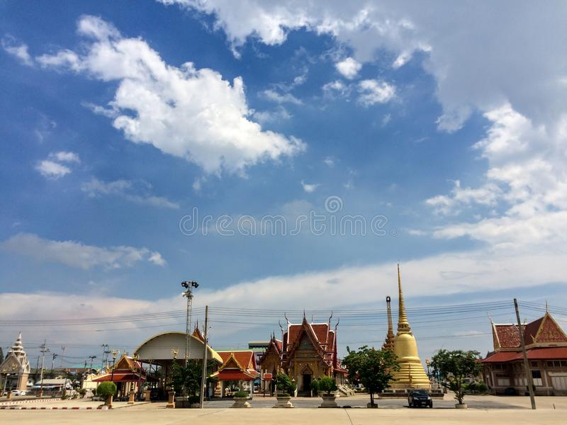Beautiful day in thailand temple stock image