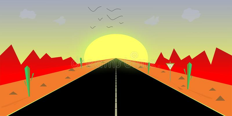 Beautiful day beautiful view nature sun birds clouds mountains beautiful clean road vector illustrations background stock illustration