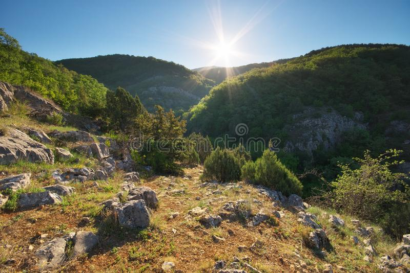 Beautiful daylight mountain landscape. Nature composition stock images