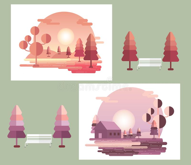 Beautiful daytime city scenery. Winter Vacation Landscape Illustrations Set royalty free illustration