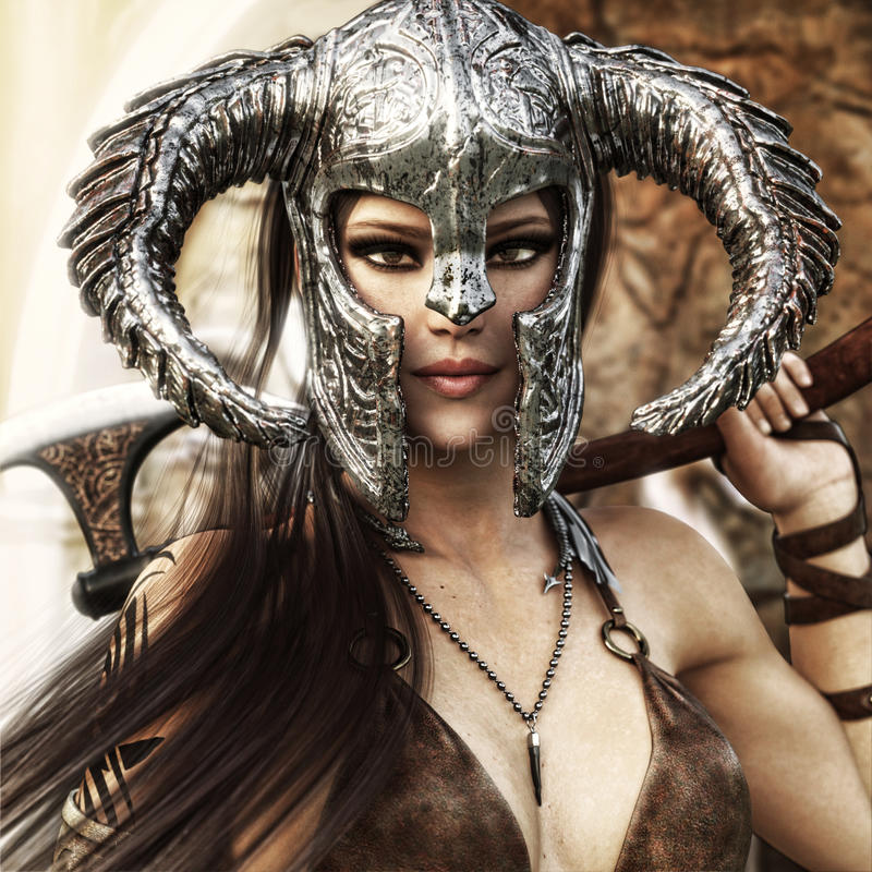 Beautiful and deadly fantasy warrior female wearing a traditional barbarian style costume. royalty free illustration