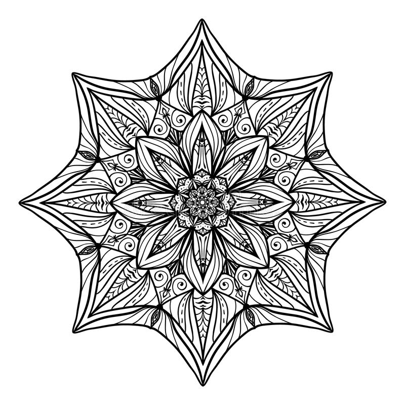 Beautiful Deco Floral mandala. Vector Round Ornament Pattern. Great choice for adult coloring page, vector illustration