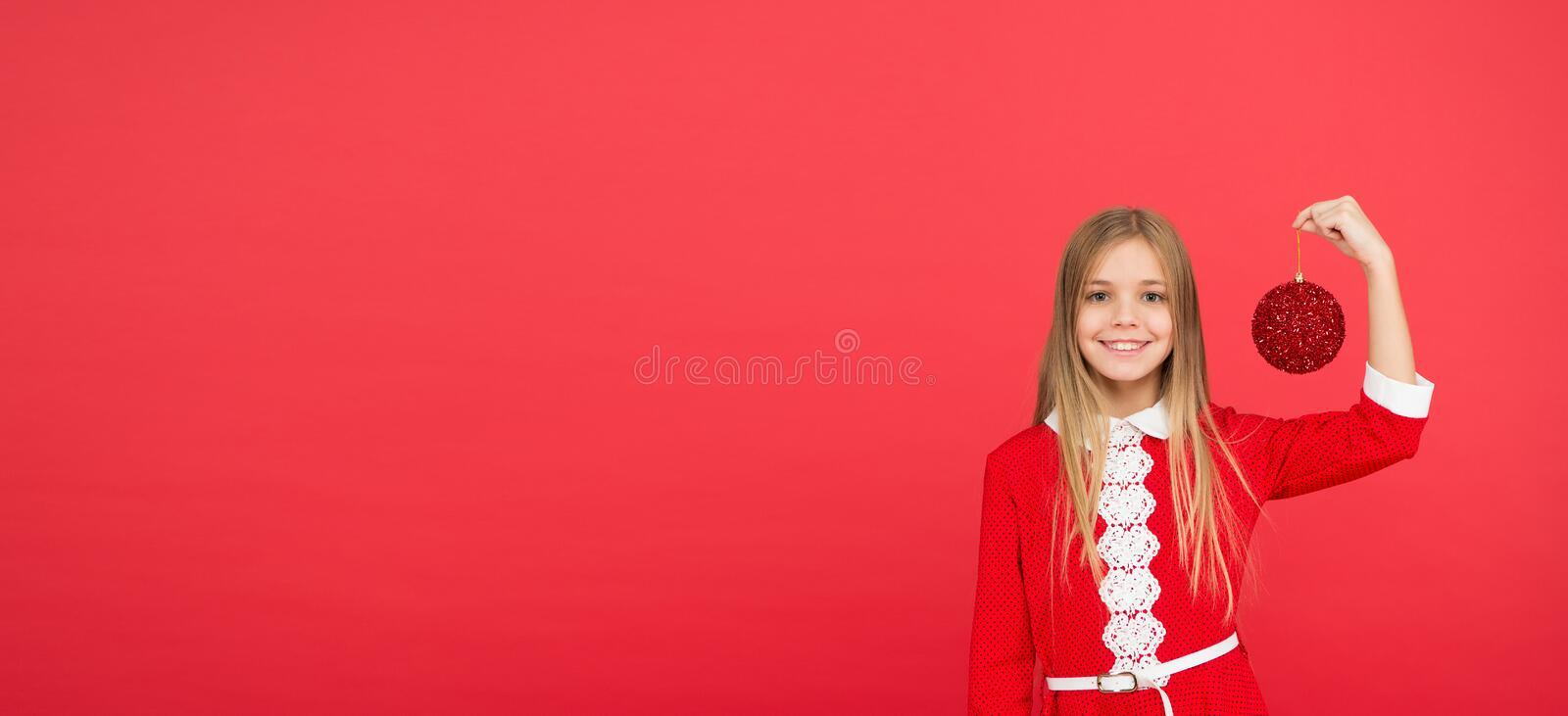 Beautiful decor. Christmas party. Winter holidays. Playful mood. Christmas celebration idea. Happy face. Shine and. Glitter. School party. Child hold shimmering royalty free stock photos