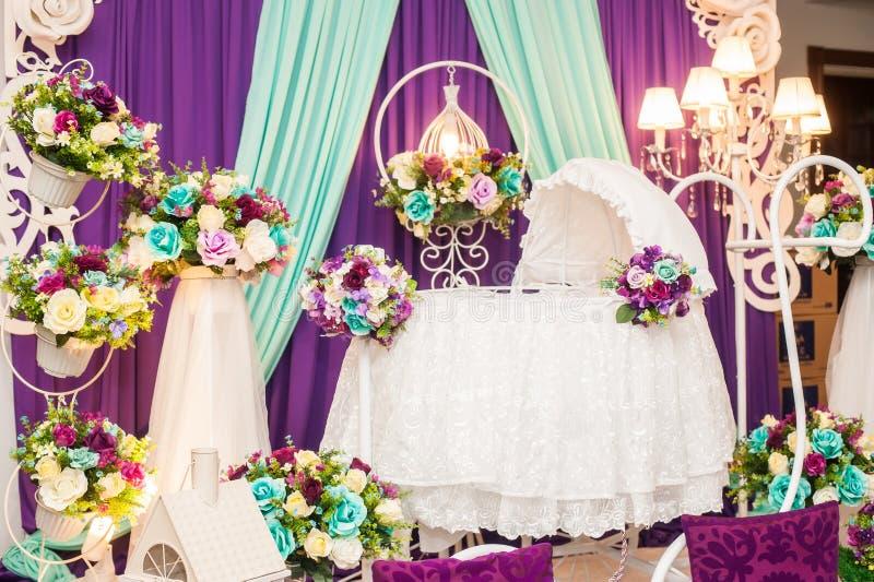 Beautiful Decorated Baby Bassinet. Beautiful Colorful Decorated Baby Bassinet stock photos