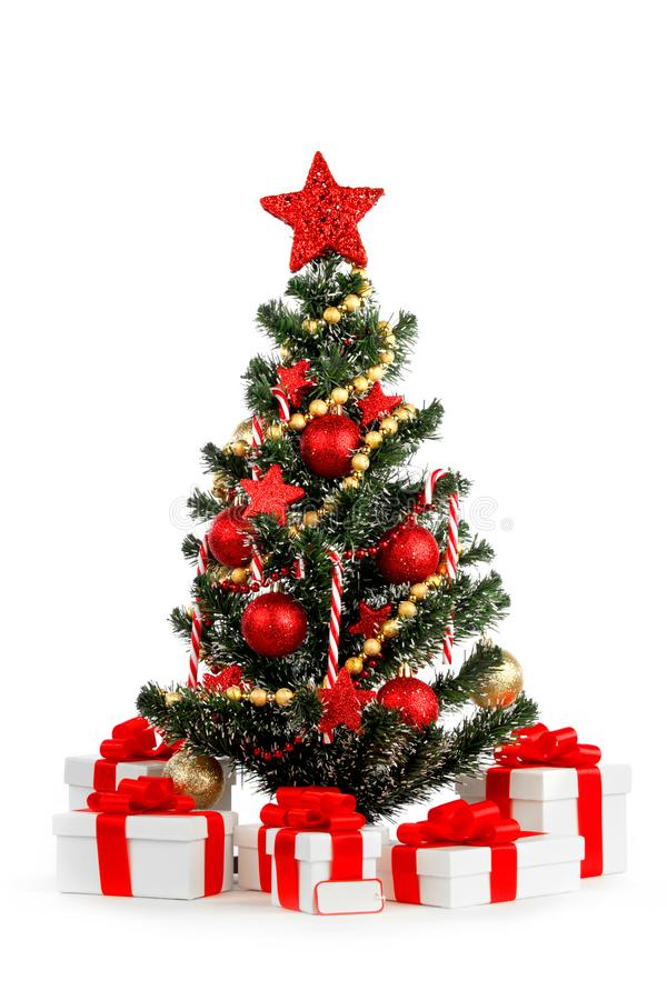 Christmas tree. Beautiful decorated christmas tree isolated on white background stock photography