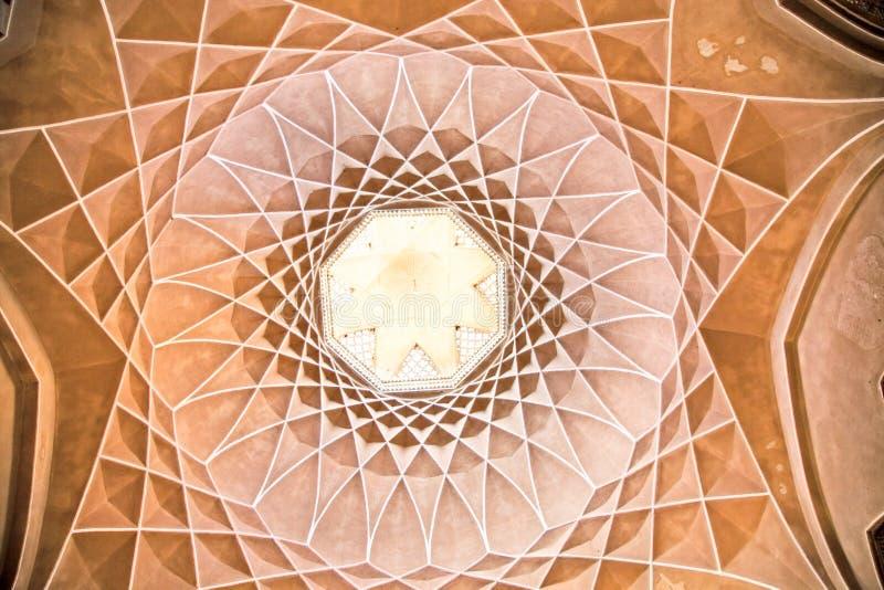 Beautiful decorated Dome of Dowlat Abad Palace , Yazd, Iran stock images