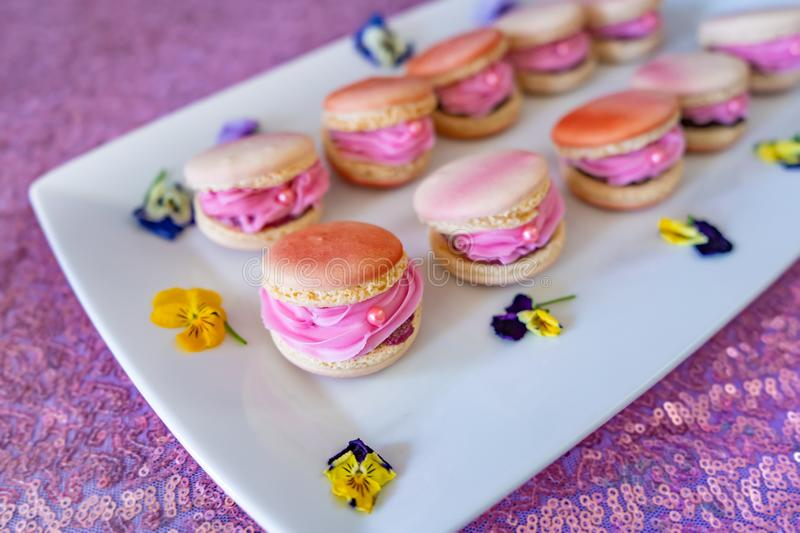 Beautiful decorated pink macaroon cookies filled with pink creme. royalty free stock photography