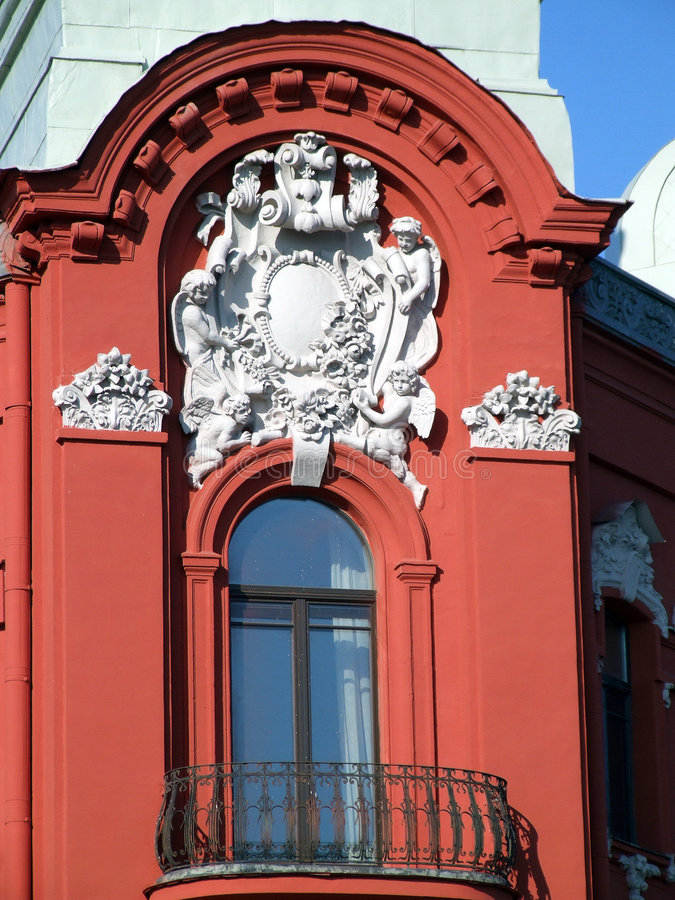 Beautiful decorated red balcony royalty free stock photos