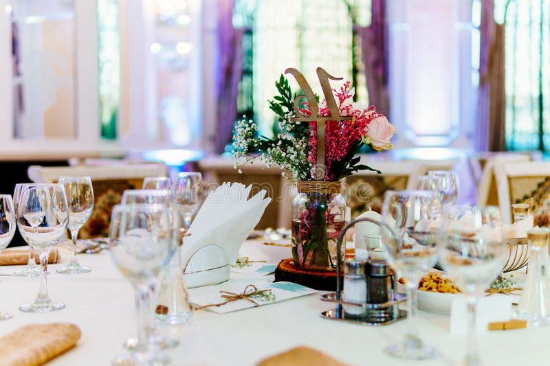 Beautiful Decorated Wedding Restaurant Table Setting Before Party stock photos