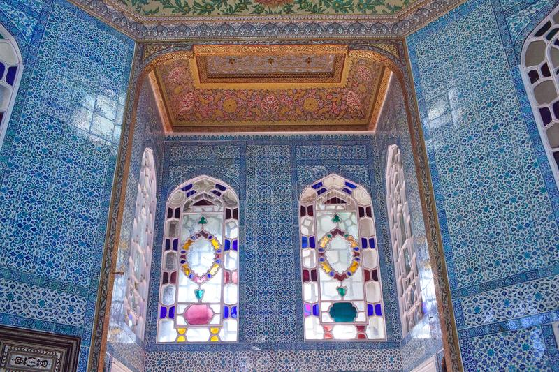 Beautiful decoration of Revan Kiosk at Topkapi Palace in Istanbul, Turkey stock images