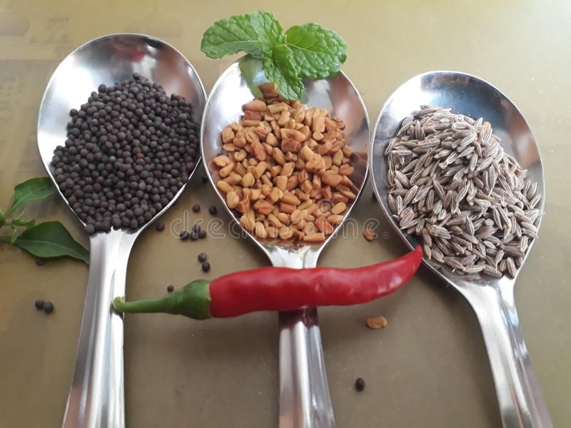 Decoration of spices in three tablespoons stock images