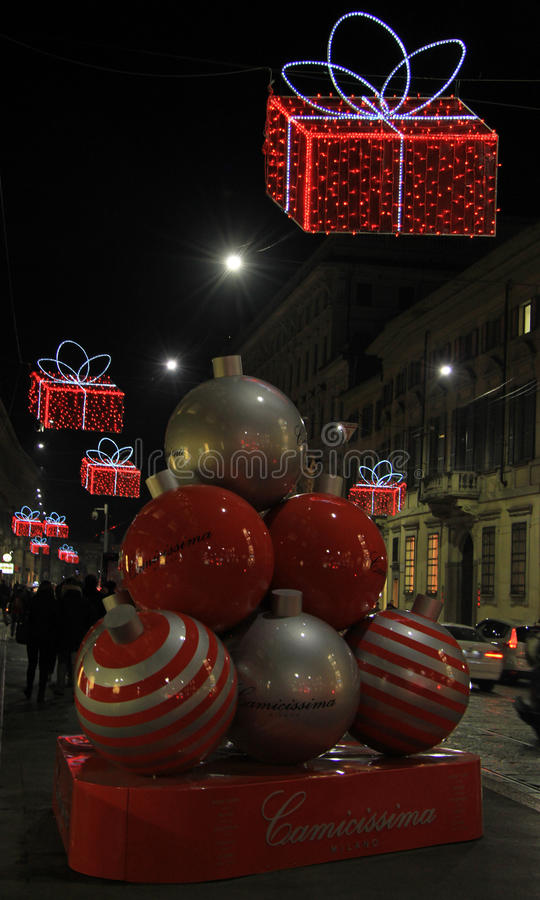 Beautiful decoration on the street in Milan, Italy royalty free stock photography