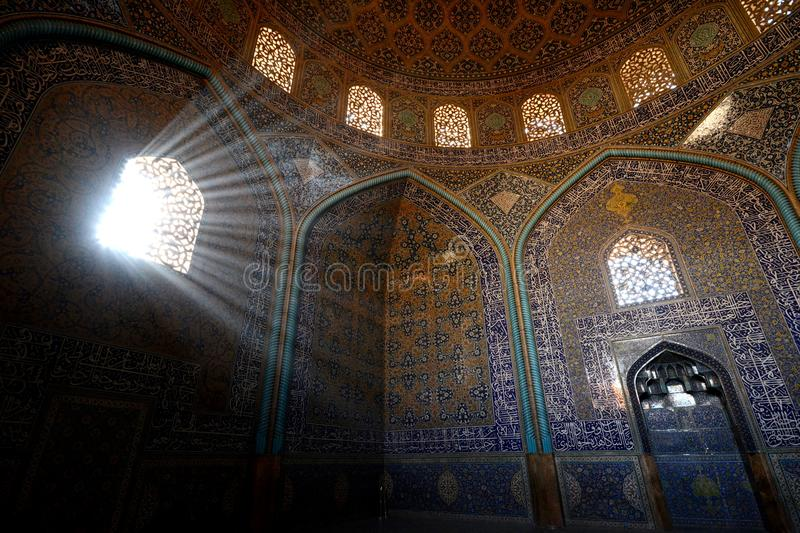 Decorations inside Sheikh Lotfollah Mosque in Isfahan, Iran stock image