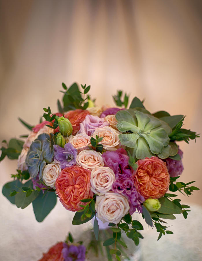 Beautiful decorative bouquet of roses flowers stock photography