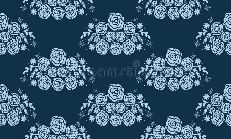 Beautiful decorative christmas seamless pattern, flower and leaves color light blue royalty free illustration