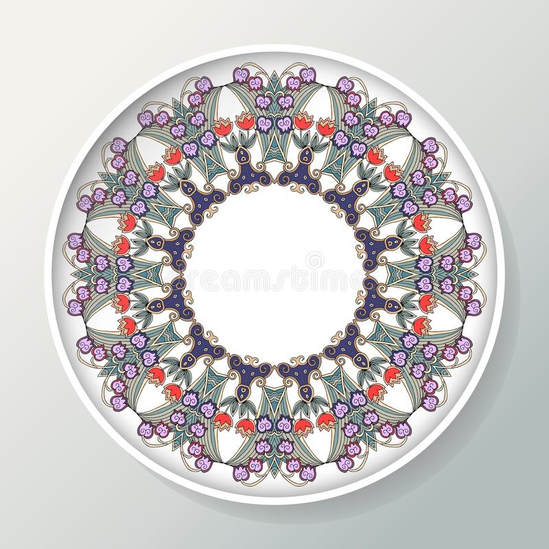 Beautiful decorative plate with round ornament from bell flowers. Vector illustration royalty free illustration