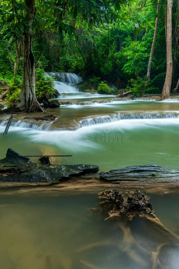 Beautiful deep forest waterfall in Thailand stock photos