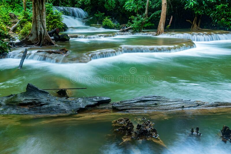 Beautiful deep forest waterfall in Thailand royalty free stock photography