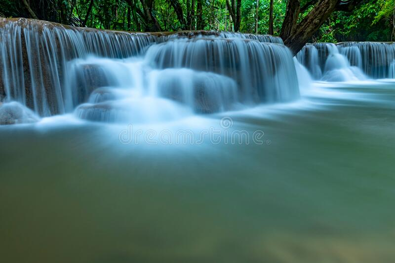 Beautiful deep forest waterfall in Thailand stock images