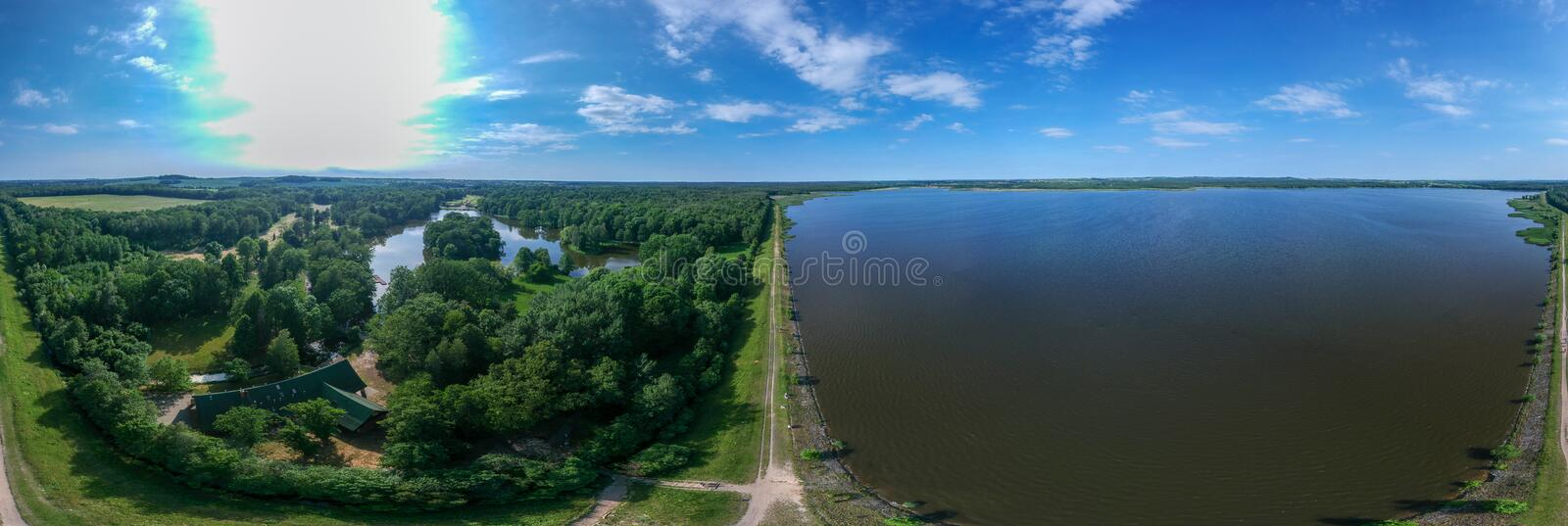Beautiful 360-degree panorama on the shore of the reservoir, stock photos