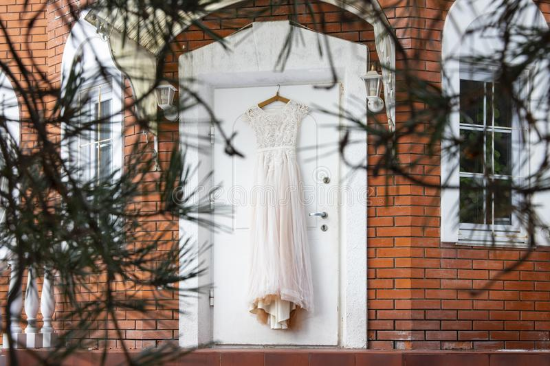 Delicate lace wedding dress royalty free stock photography