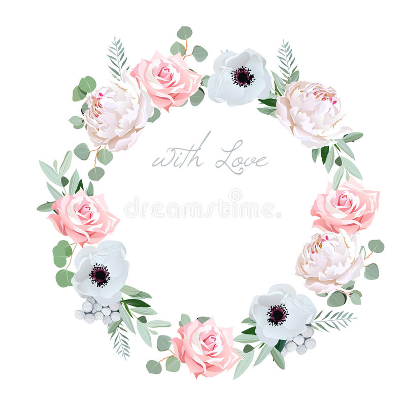 Beautiful delicate peony, anemone, rose, brunia flowers and eucalyptus leaves round vector frame. All elements are isolated and editable vector illustration