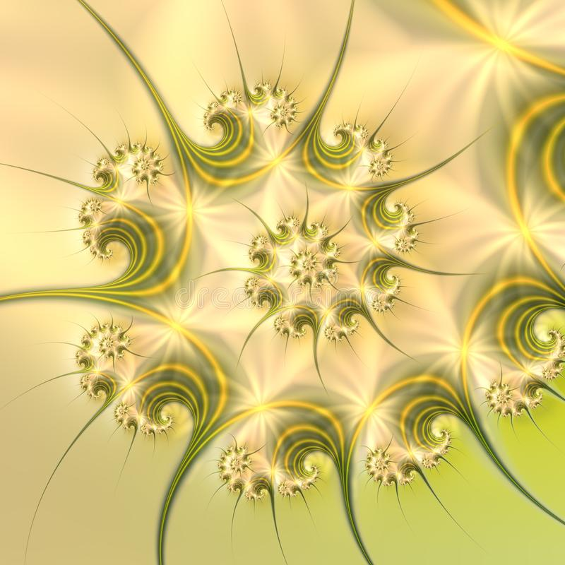 Beautiful delicate spiral fractal in subtle nature colors royalty free illustration