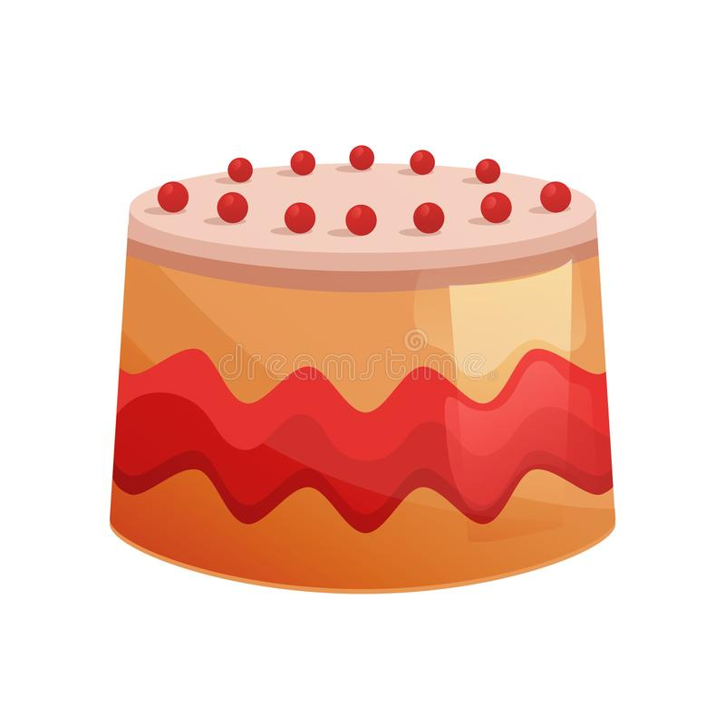 Beautiful delicious, decorative cake, with glaze and biscuit. Sweet desserts. Beautiful delicious, decorative cake, with glaze and biscuit. Sweet baked desserts vector illustration