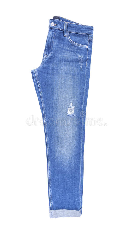 Beautiful denim pants. Isolated on white background stock photos