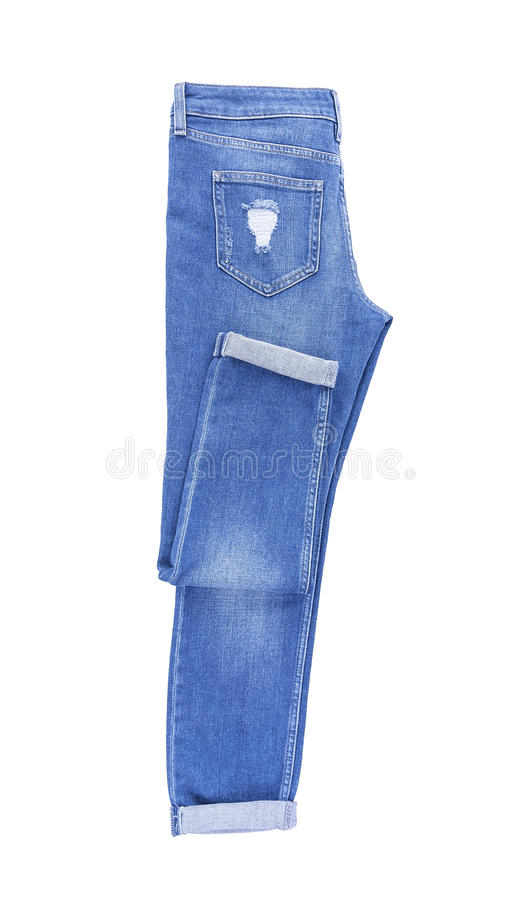 Beautiful denim pants. Isolated on white background stock photography