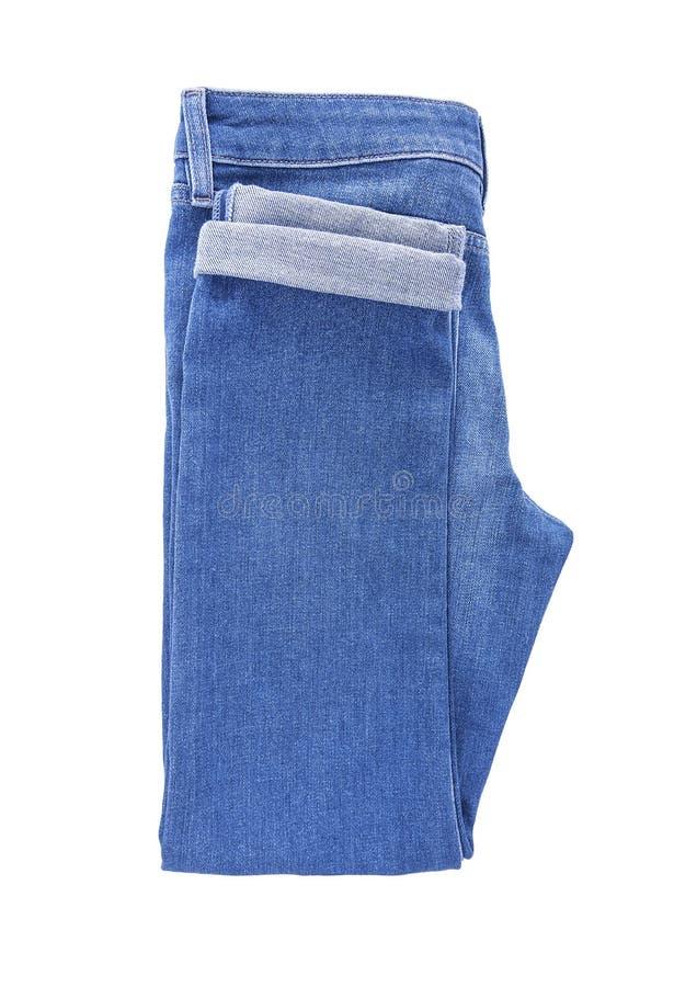 Beautiful denim pants. Isolated on white background stock photos