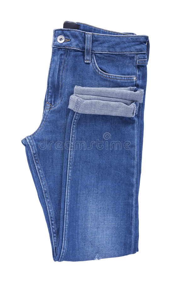 Beautiful denim pants. Isolated on white background stock photography